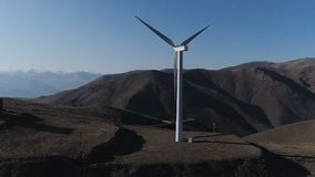 Wind power windmill station production energy. Concept of clean windpower - solution many problems: earth ecological pollution, changing weather and global stock video footage