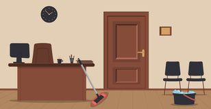 Concept of cleaning office or reception area.Wooden door, sign,table,monitor,armchair,chairs,wall clock,cup of coffee,folders royalty free illustration