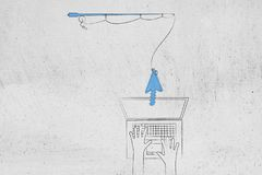 Fishing rod holding mouse pointer in front of laptop with user t stock illustration