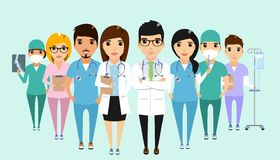 Concept of the clinic staff team. The concept of the clinic staff team standing together. Good team. Happy people Stock Images