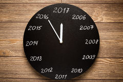 Concept of clock on the eve of 2017. Royalty Free Stock Photography