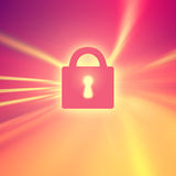 Concept closed padlock on motion blurred background Royalty Free Stock Images