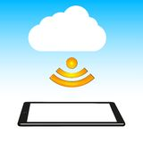 Concept cloud with computer tablet. Vector Stock Images