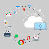 Concept for cloud computing, data transfer and synchronization. Vector illustration concept for cloud computing, data transfer, data storage and synchronization Stock Photo