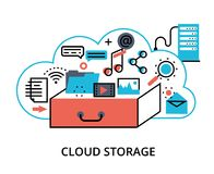 Concept of cloud computing storage. Modern flat thin line design vector illustration, concept of cloud computing storage, protect computer networks and remote Stock Photos