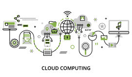 Concept of cloud computing technologies, protect computer networ. Modern flat thin line design vector illustration, concept of cloud computing technologies Royalty Free Stock Photography