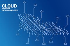 Cloud computing network circuit line concept stock photo