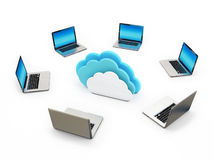 Concept Cloud Connection Laptops on White Background Royalty Free Stock Images