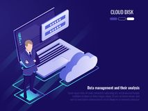 Concept of cloud disk and data access, businessman stay on background of laptop with login form and cloud icon. Iometric vector Royalty Free Stock Photos
