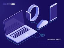 Concept of cloud service for mobile devices.Process of upload and download on data storage. 3d isometric style. Concept of cloud service for mobile devices Royalty Free Stock Photos