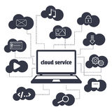 Concept. Cloud service. Open the laptop and various icons in the clouds around. Stock Photo