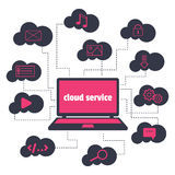 Concept. Cloud service. Open the laptop and various icons in the clouds around. Royalty Free Stock Image