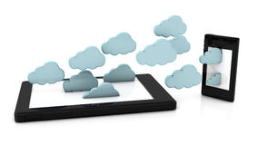 3d clouds in tablet pc Stock Image
