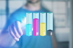Concept of a CMYB Inkjet level interface over a device - Compute Stock Photos