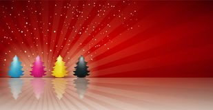 Free Concept Cmyk Christmas Tree In Cyan Magenta Yellow Black. Merry Christmas. Red Background Stock Photography - 130867422
