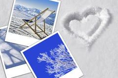 Concept, coeur, neige et photographies de vacances d'hiver Image libre de droits