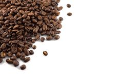 Concept of coffee beans with copy space for text or logo. Isolated royalty free stock photos