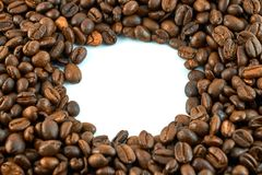 Concept of coffee beans with copy space for text or logo.  stock photo