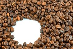 Concept of coffee beans with copy space for text or logo.  stock image