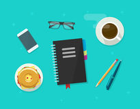 Concept of coffee break time, breakfast, working on organizer notebook Royalty Free Stock Photo