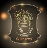 Concept of coffee time with ground glass on  town light background Royalty Free Stock Images