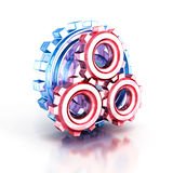 Concept cogwheel gears glass icon Royalty Free Stock Images