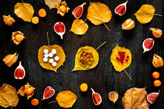 Concept of cold autumn - pills, leaves on dark wood Royalty Free Stock Images
