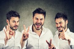 Collage of cheerful man excited with win Royalty Free Stock Photos