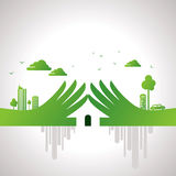 Concept écologique de main dans le sens urbain Photo stock