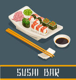 Concept coloré de bar à sushis illustration libre de droits