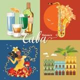 Concept coloré de carte de voyage du Cuba Affiche de voyage avec la ROM, le danseur de La Havane et de Salsa Illustration de vect illustration libre de droits