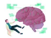 Concept coloré de vecteur du scientifique, traitant l'intelligence artificielle
