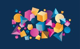 Concept color 3d geometric composition. Vector illustration. Geometry shapes design elements flying scattered Royalty Free Stock Image