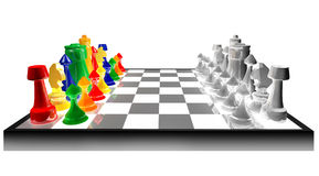 Concept of colored chess. Colored chess concept against black and white isolated on white background Stock Images