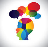 Concept of colorful face with puzzles, questions,. Doubts, ideas. The vector graphic also represents a person icon with talk signs indicating imagination, ideas Stock Images
