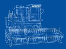 Concept combine-harvester. Vector rendering of 3d Royalty Free Stock Images