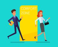 Concept of comfort zone. Business woman leaving the comfort zone. Businessman runs into the comfort zone to success. Flat design, vector illustration royalty free illustration