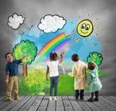 Concept comment changer un jour gris avec le jour coloré photographie stock libre de droits