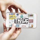 Concept commercial de finances d'échange d'économie d'exportation image stock