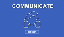 Concept of communication. On blue background Royalty Free Stock Image