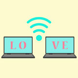 Concept of communication in love. Vector illustration Royalty Free Stock Photography