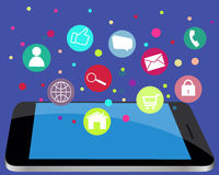 Concept of communication in the network. Mobile phone with icons Stock Images