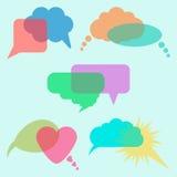 Concept of communication, transparent speech bubbles. Vector illustration Stock Image