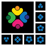 Concept of community unity, solidarity & people - vector icons Stock Photo