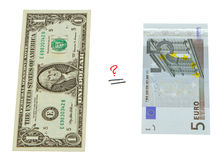 Concept compare USA dollar and European euro money Stock Photos