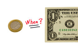 Concept compare usd dollar and euro coin money. Concept compare usd dollar paper and european euro coin money Royalty Free Stock Photography