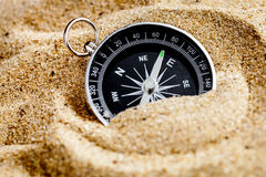 Concept compass in sand searching meaning of life. Close up royalty free stock images