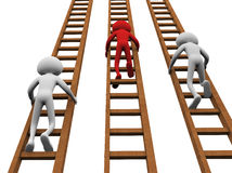 Concept of competition. 3d render of men climbing ladders for winning Royalty Free Stock Image
