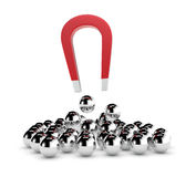 Concept of competition. One magnet and a group of spheres. some spheres are pulled by the magnet, concept of competition and leadership (3d render vector illustration