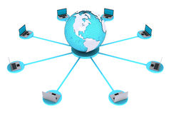 Concept for computer connection around world. 3D render of concept for computer connection around world on white background Stock Image